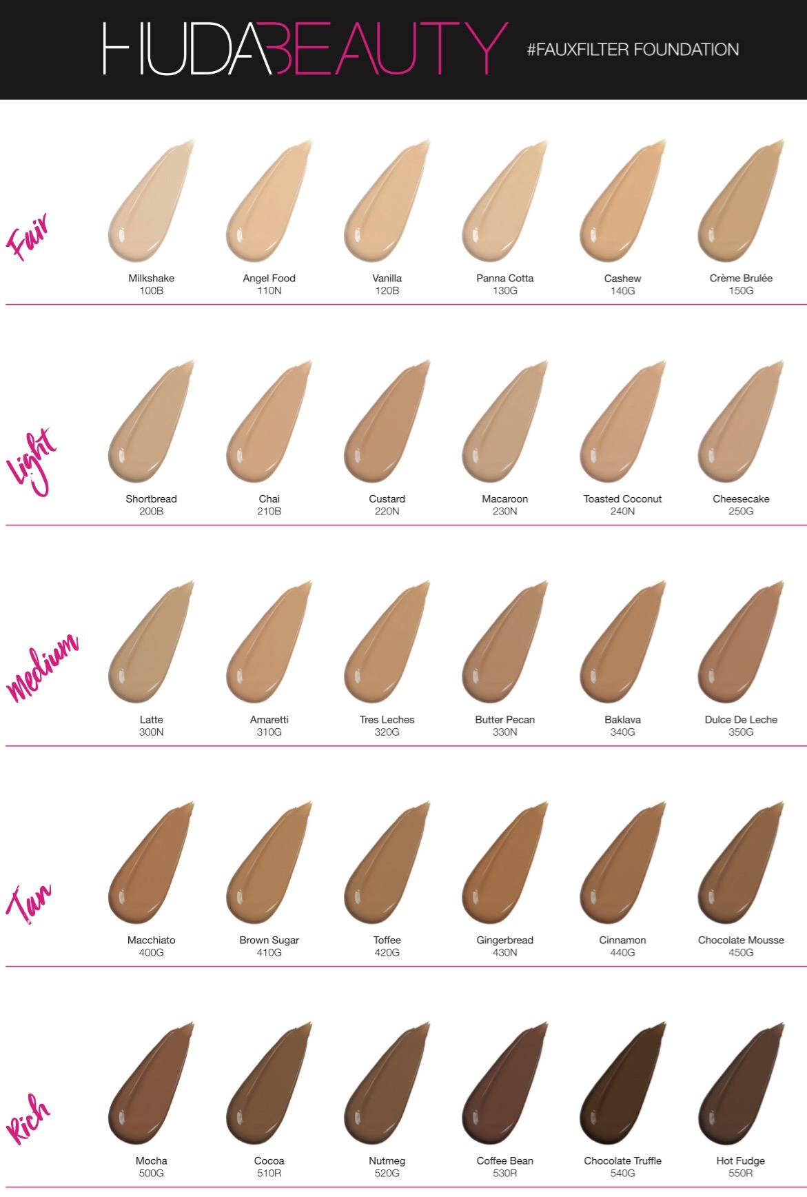 Huda Beauty #FauxFilter Foundation shade swatches