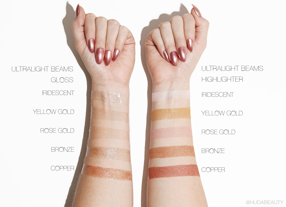 KKW Beauty Ultralight Beams Highlighters and Glosses swatches