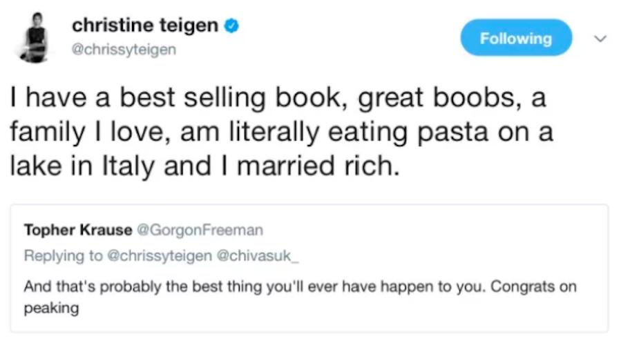 Chrissy Teigen Clap Back