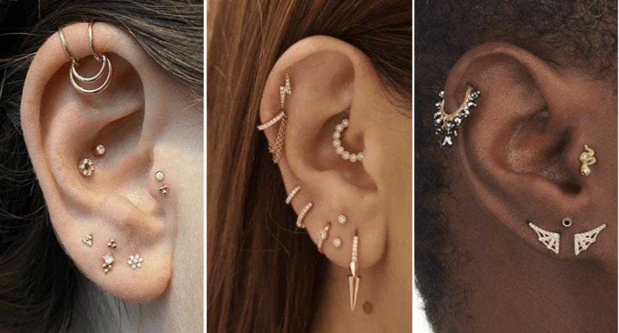 stacked lobe piercing